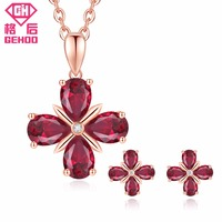 GEHOO 925 Sterling Silver Women Earrings & Necklace Jewelry Set Pretty Ruby Oval Gemstone Zircon Pendant Wedding Party bijoux