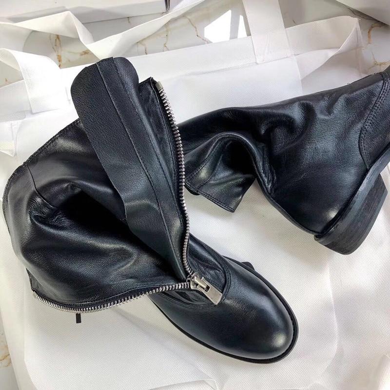 Blanc Chaussures Printemps À White Black Red Boots Boots Cuir Sans Lacets B Glissière Épais b Pour Talons En Femmes Cowboy Bottes Véritable Bottines a Pink Boots n56FqwYXSx