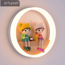 Artpad 18W Nordic Modern LED Wall Light for Kids Child Bedroom Living Room Lighting Cute Round Wooden Lamp On the