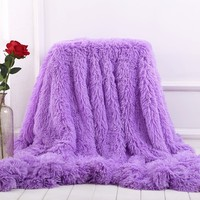 Soft Comfortable Plush Bed Cover Throw Blanket Winter Warm Long Shaggy Sofa Couch Knee Blanket Cozy Fuzzy Fur Faux Blanket