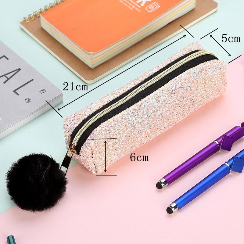 Милый Блестящий карандаш Diamond футляр для карандашей Творческий плюшевая ручка случае KawaiiFor девочек Подарки школа офиса канцелярские