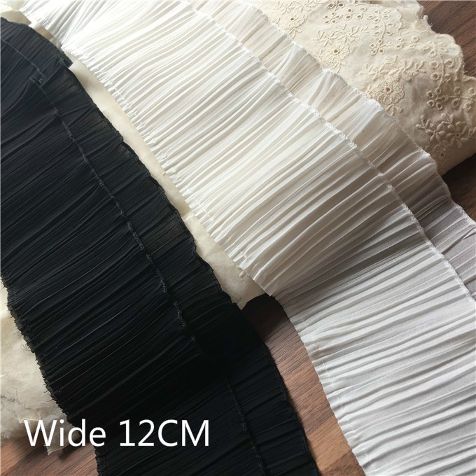 12CM Wide White Black Double Layers Pleated Chiffon Lace Ruffle Trim Ribbon Collar Applique For Garment Dress Hem Fringe Decor(China)