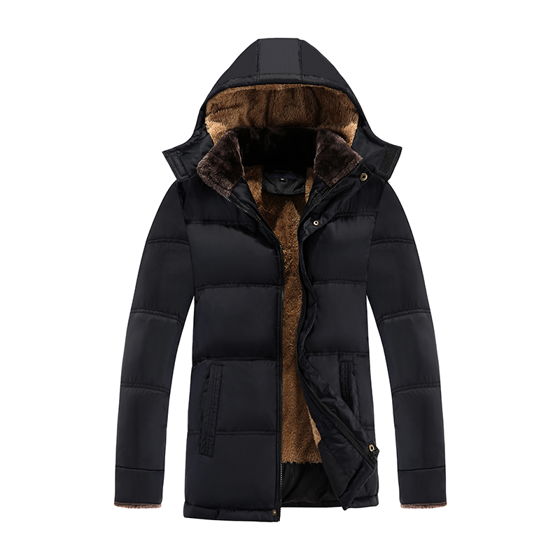 2018  Winter New Black Jacket Men Warm Coat Fashion Casual Parka Medium-Long Thickening Jacket for Men Parkas Fit Snow Cold 3XL