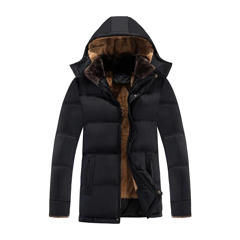 2018 Winter New Black Jacket Men Warm Coat Fashion Casual Parka Medium Long Thickening Jacket for Men Parkas Fit Snow Cold 3XL
