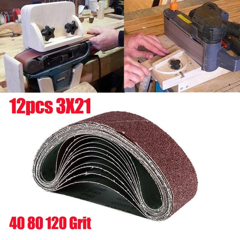 New 12Pcs Sanding Belts 40 80 120 Grit Aluminum Oxide 3