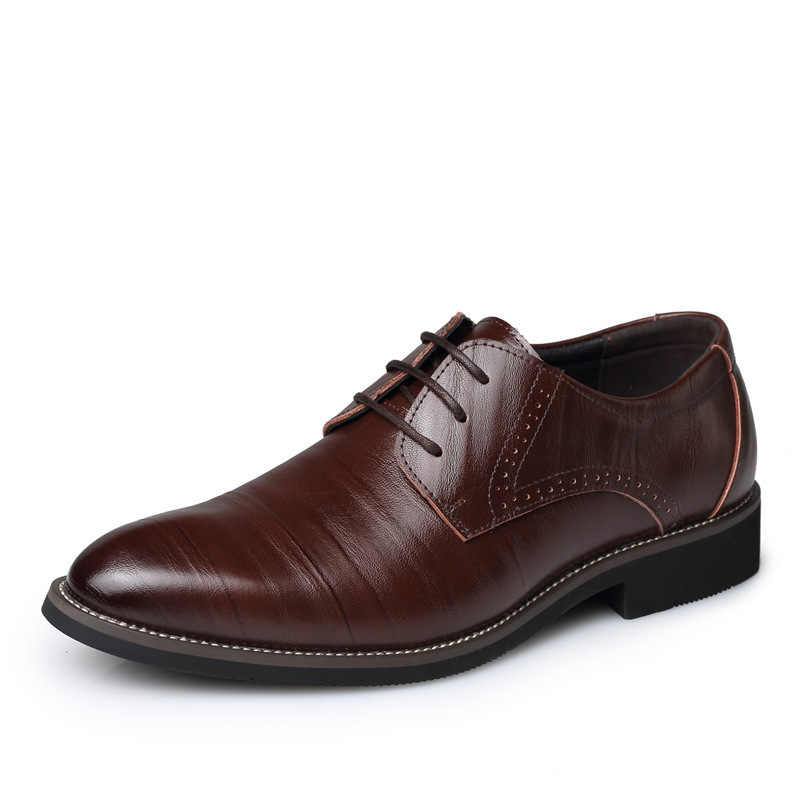 Большие размеры 38-48; кожаные мужские деловые туфли в сдержанном стиле; черные туфли с острым носком; дышащие классические свадебные туфли; мужские лоферы; 2018