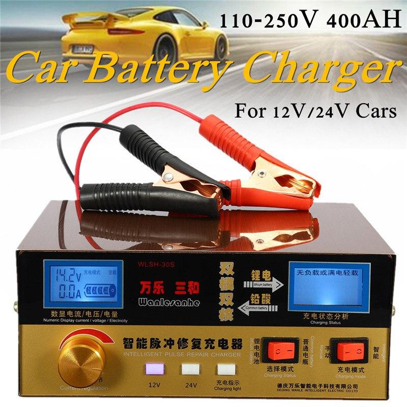 110 V-250 V 12 V/24 V 6AH-400AH automatique Intelligent Type de réparation d'impulsion chargeur de batterie de voiture surchauffe court-Circuit protection inverse