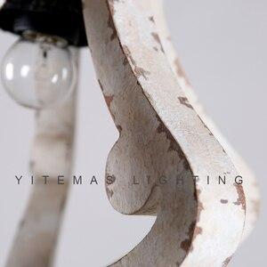 Image 5 - Farmhouse vintage białe drewno żyrandol oprawa oświetleniowa małe antyczne wiszące francuski żyrandol światło do jadalni 1 światło
