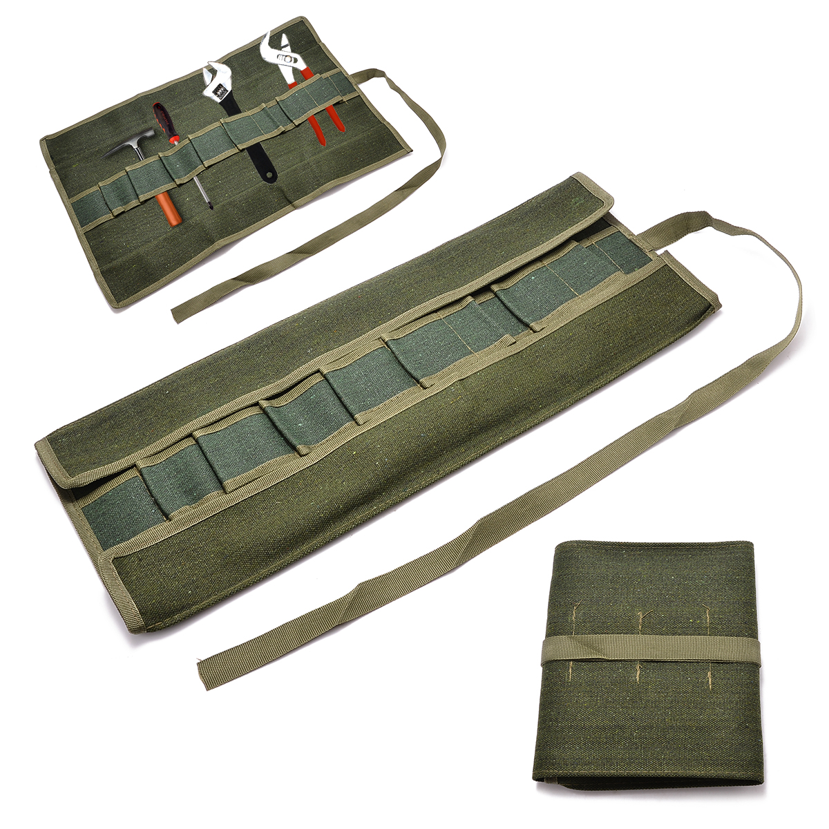 Mayitr Army Green Bonsai Storage Package Roll Bag Garden Repair Tool Pliers Scissors Canvas Tools Storage Bags