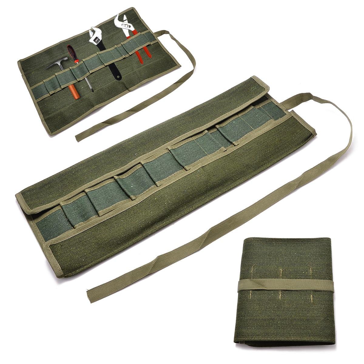 Mayitr Army Green Bonsai Storage Package Roll Bag Garden Repair Tool Pliers Scissors Canvas Tools Storage Bags