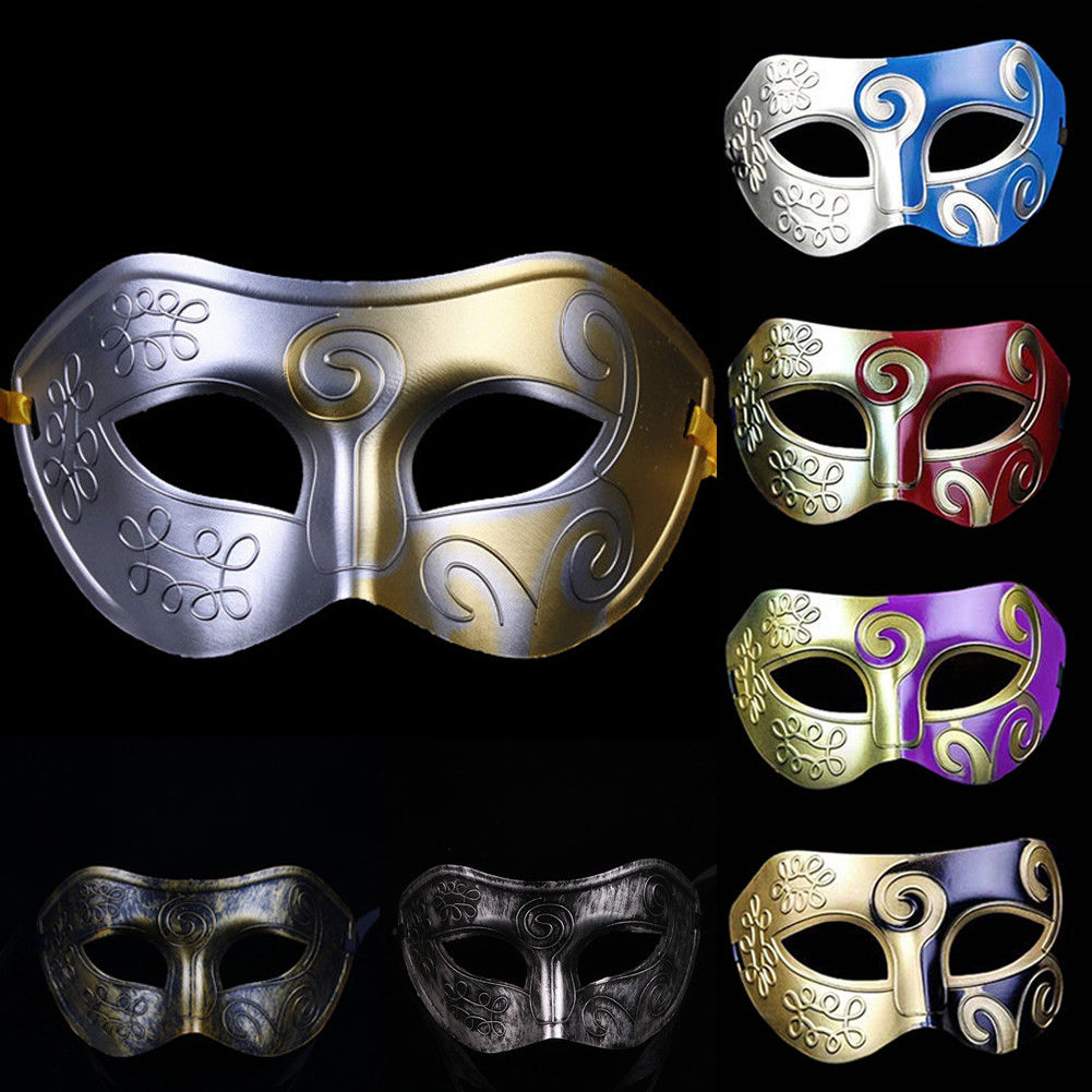 Antique Burnished Masquerade Party Gras Men Mardi Silver//Gold Ball Mask Venetian