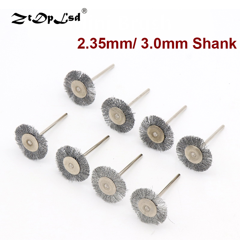 6pcs 2.35/3mm Shank Platinum Blades Steel Wire Wheel Brush Rotary Tool For Mini Drill Polishing Stainless Brushes Grinder Set