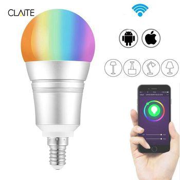 CLAITE E27 E14 B22 9 w RGB + Branco Quente WI-FI LEVOU Controle de Voz Inteligente Lâmpada de Trabalho com Alexa AC110-255V
