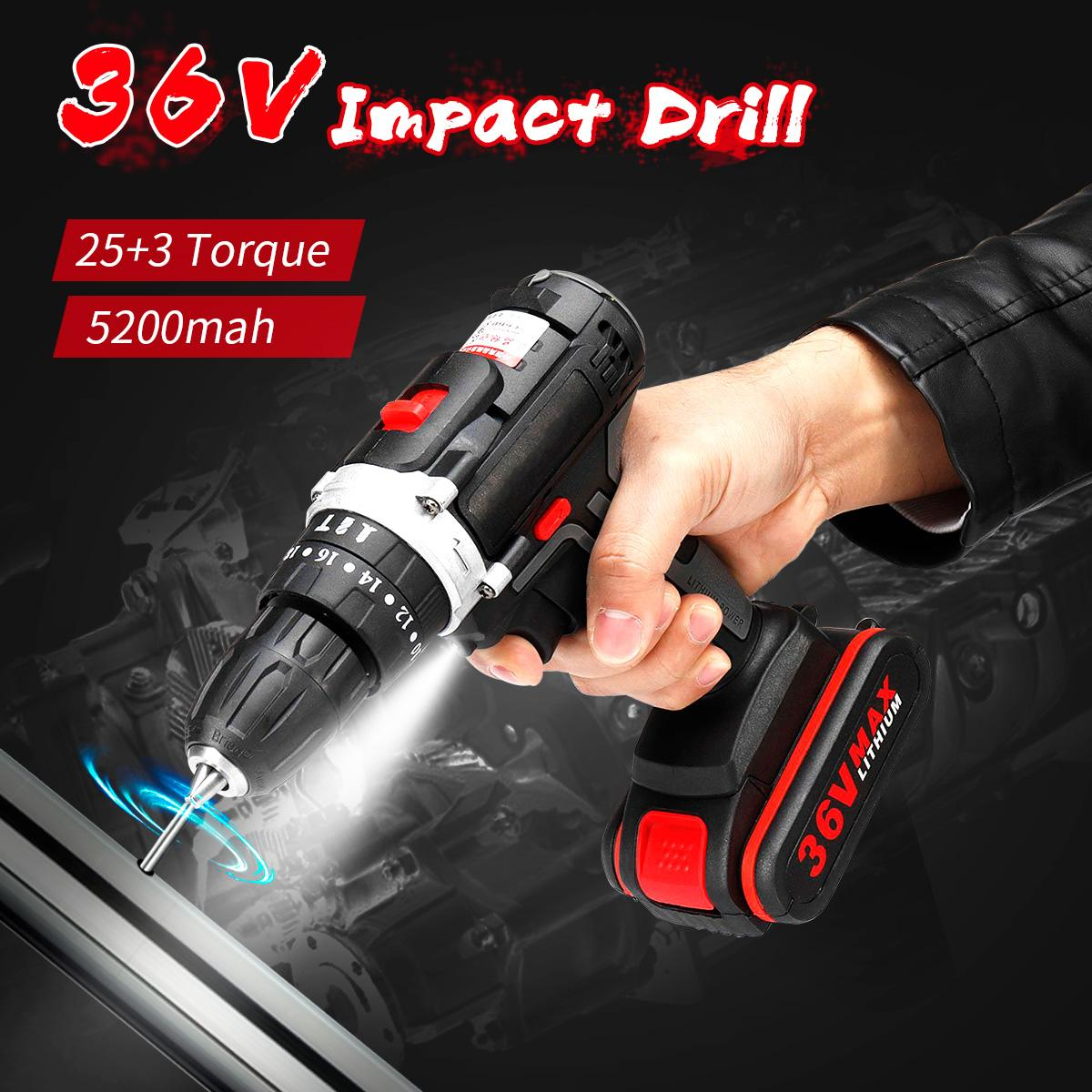 36V Cordless Electric Drill Lithium Battery Screwdriver 25+3Torque LED Working Light DIY Home Hand Impact Flat Drill Power Tools