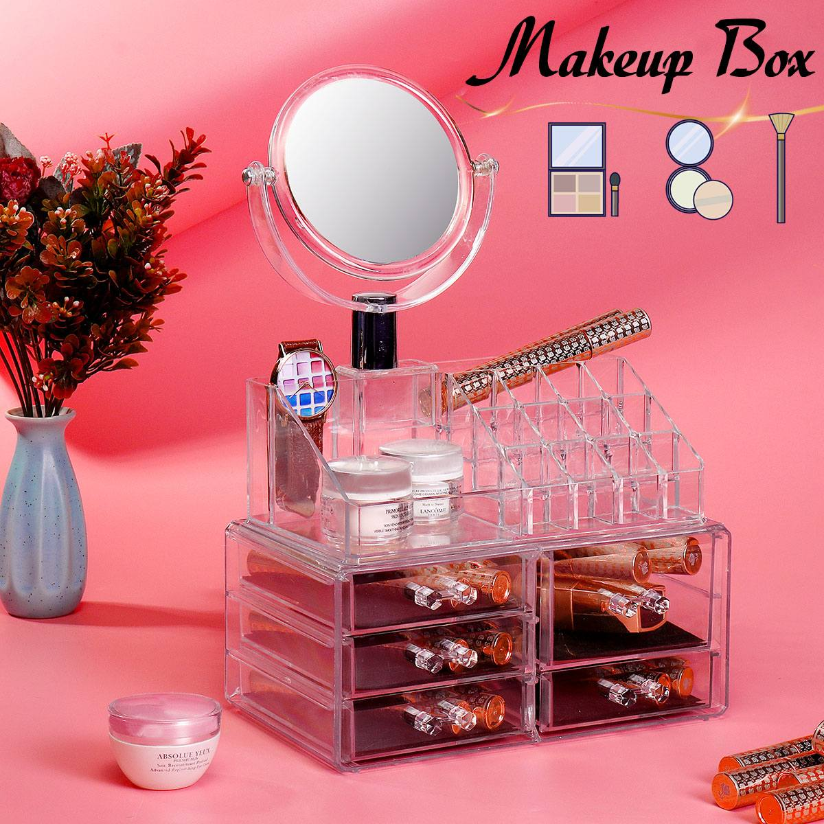 3Pcs Large Clear Cosmetic Organizer Box Makeup Storage Drawer Desk Bathroom Makeup Brush Lipstick Holder With Mirror PS Material