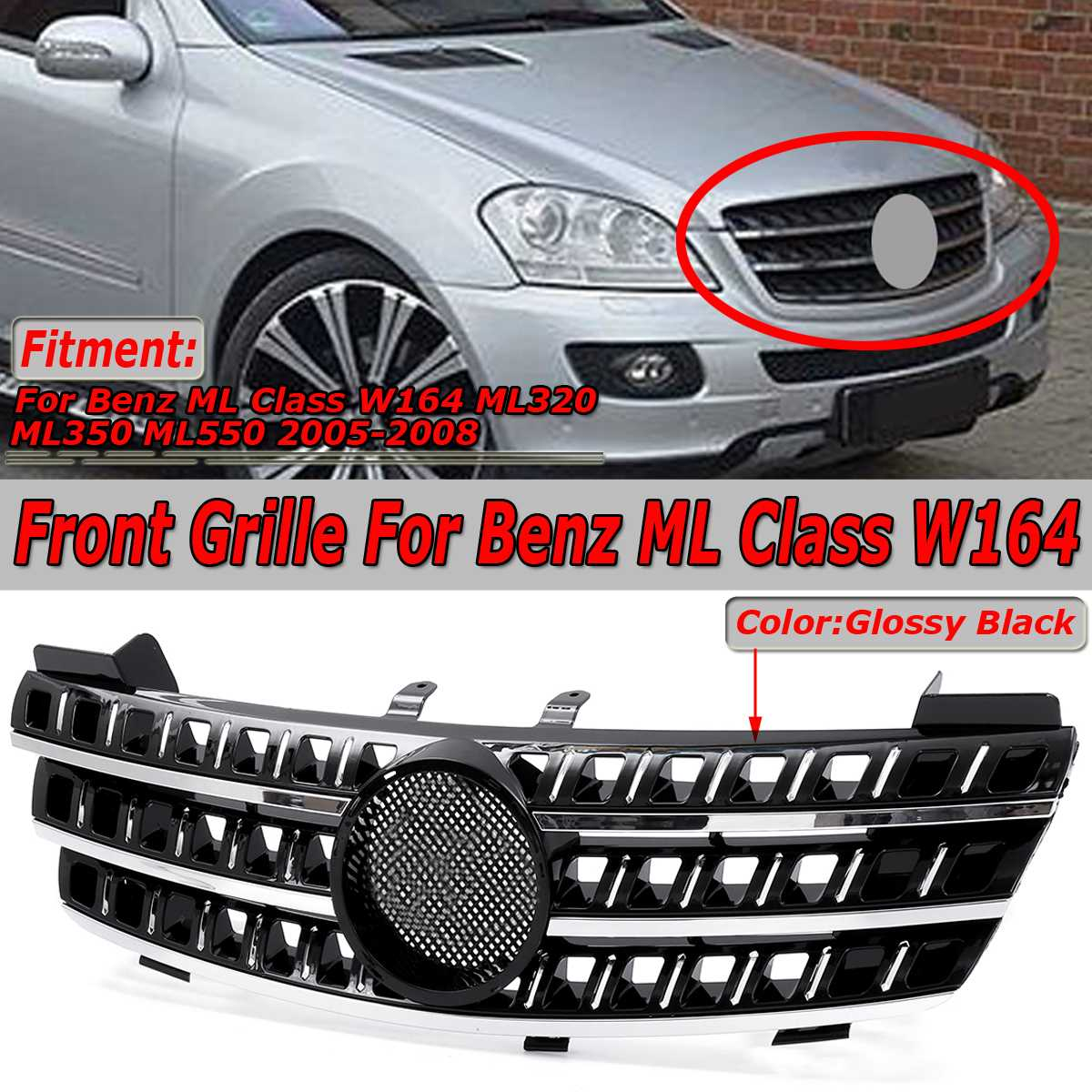 High Quality Car Front Bumper Mesh Upper Grille Grill For Mercedes For Benz ML Class W164 ML320 ML350 ML550 05 08 Racing Grille
