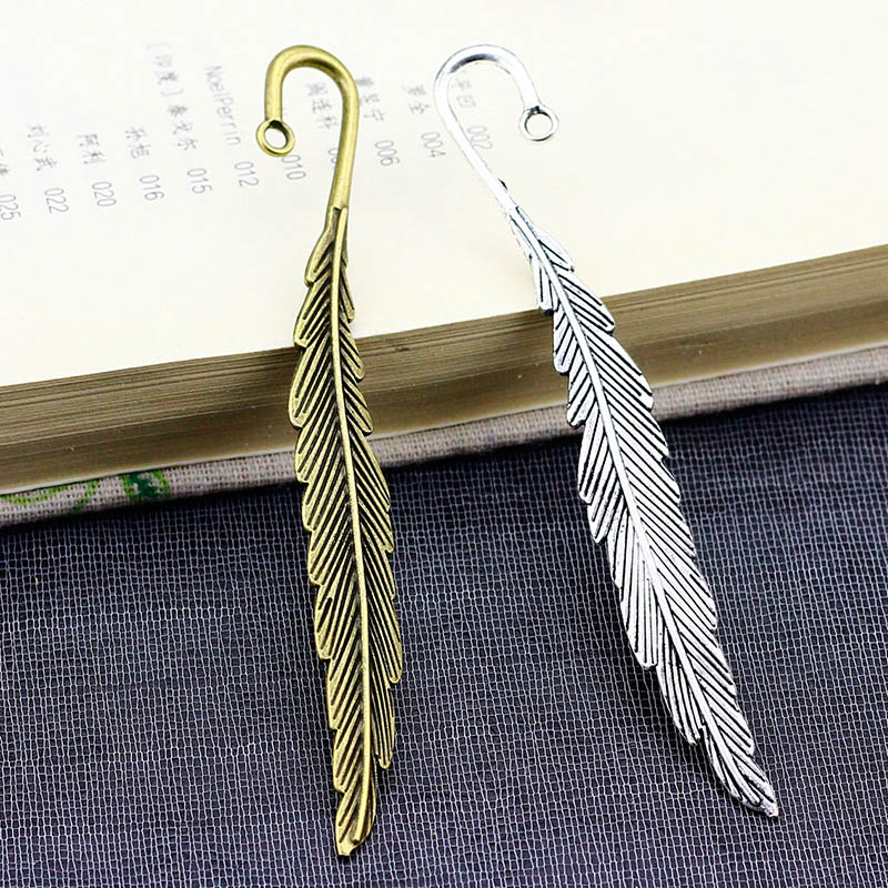 1PC Retro Metal Feather Bookmark Vintage Silver Plated DIY Alloy Bookmarks For Girls Kids Gift School Office Stationery Supplies