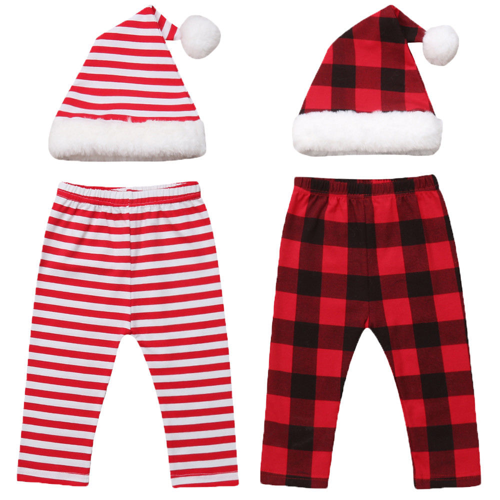 Multitrust Outfits-Set Costume Pants Newborn Baby-Girls-Boys Hat Brand Plaid XMAS Christmas-Hat