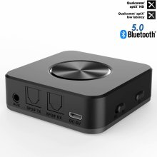 HAOBA Bluetooth Transmitter Receiver Wireless Audio Adapter Bluetooth Receiver 3.5mm Support Lossless Bluetooth Receiver csr8675 bluetooth 5 0 wireless bluetooth audio transmitter coaxial optical fiber analog input lossless music audio transmission
