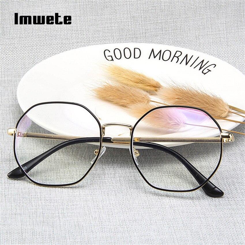 Imwete Anti Blue Light Blocking Eyeglasses Frame Men Women Metal Design Gaming Glasses Classic Spectacle Transparent Frames