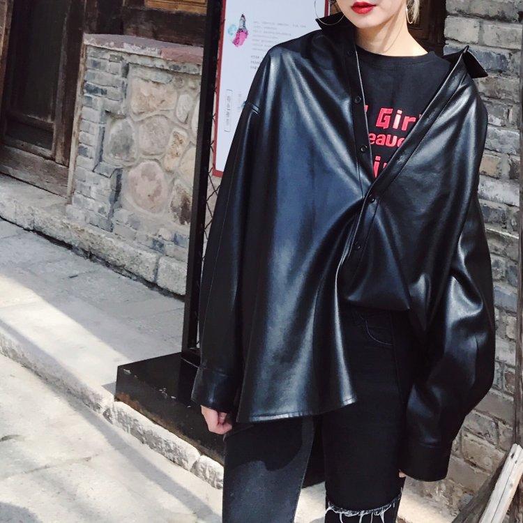#5002 Spring Autumn Black Long Sleeve Turn-down Collar Faux   Leather   Coat Women Streetwear Harajuku PU Jacket Femme Plus Size