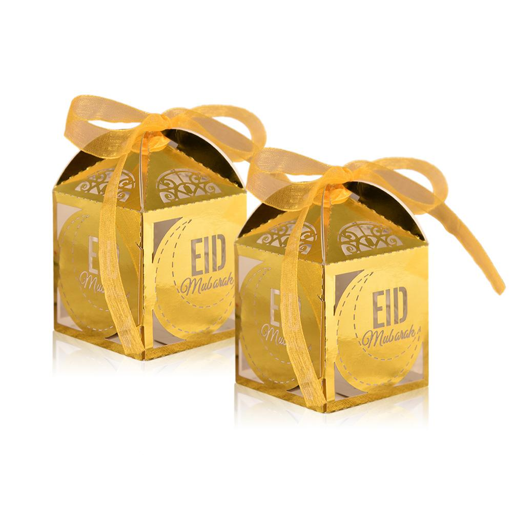 50PCS Eid Candy Box Hollow Wedding Candy Box With Ribbon Romantic And Elegant Simple And Beautiful Colors Quick Delivery in Gift Bags Wrapping Supplies from Home Garden