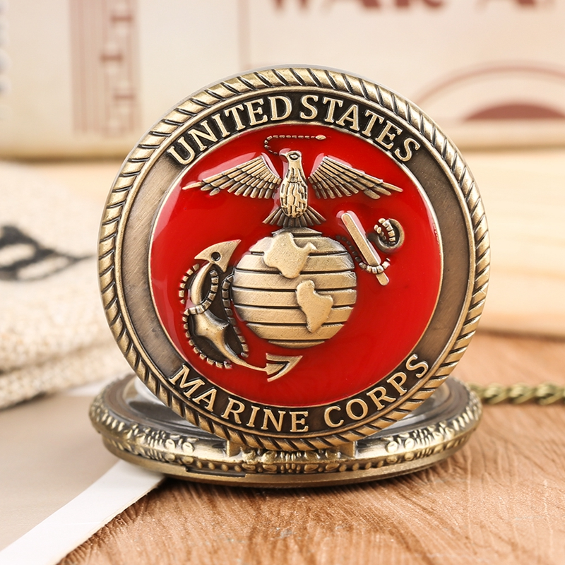 Top Gifts United State Marine Corps Theme Quartz Pocket Watch Fashion Red Souvenir Pendant Necklace Chain Military Watch For Men