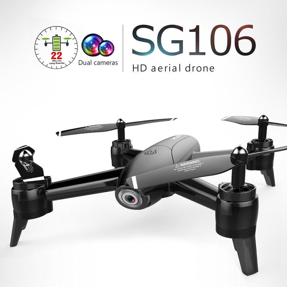 2019 SG106 RC Drone flux optique 1080 P HD double caméra en temps réel vidéo aérienne RC quadrirotor avion positionnement jouet enfant cadeau