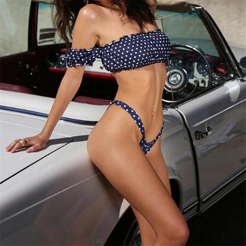 Women's Sexy Bikini Set Push up Padded Bra Two Pieces Swimwear Blue Dot Bathing Suit Summer Backless Beachwear New Hot Selling
