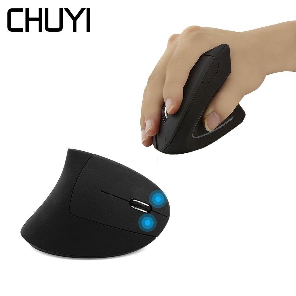 CHUYI ergonómico ratón Vertical inalámbrico óptico USB computadora Mause 1600 DPI 5D colorido luz saludable ratones con ratón Pad Kit