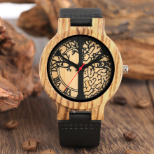 Wooden Watches Soft Leather Strap Life Tree Dial Timepieces