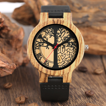 Wooden Watches Soft Leather Strap Life Tree Dial Timepieces  Natural Quartz Wood Watch Clock Gifts for Men Women