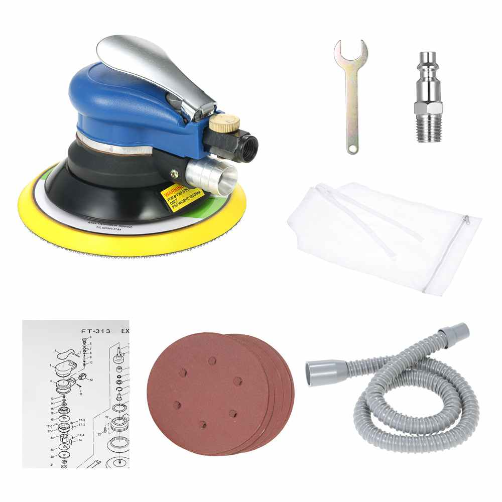 EU Plug 6 Inch 10000RPM Pneumatic Palm Random Orbital Sander Polisher Air Powered Track Polisher Dual Action Polishing Grinder