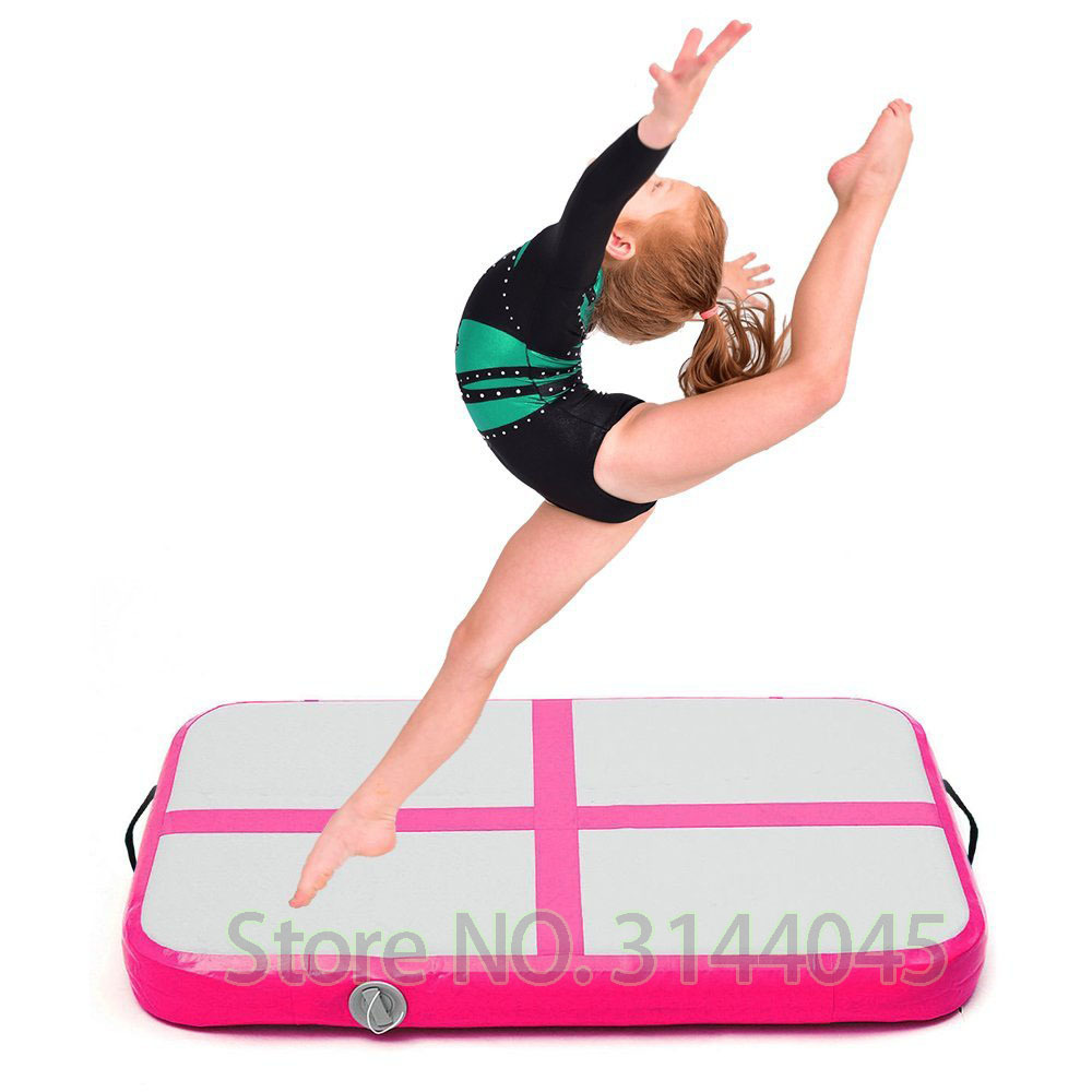 Inflatable Gymnastic Airtrack Tumbling Yoga Air Trampoline Track For birthday Training Taekwondo Cheerleading 1M*0.6M Pink Blue
