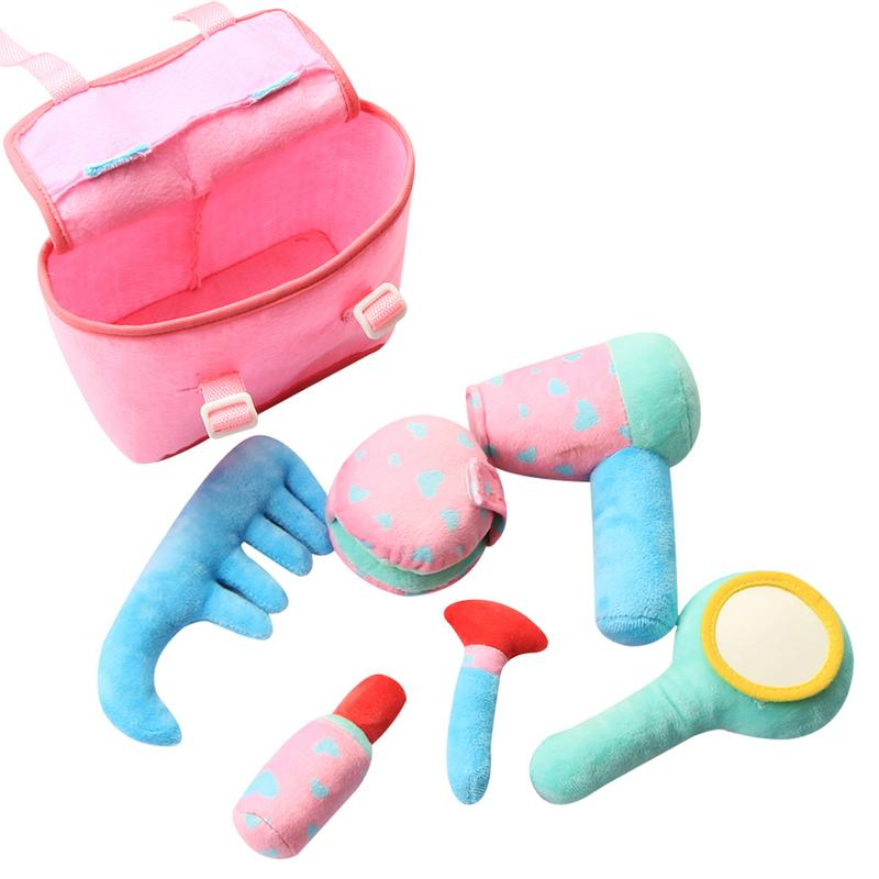 Baby Girl play make up toy set Pretend Play plush soft Cosmetic Bag Beauty Hair Salon Toy Makeup Tools