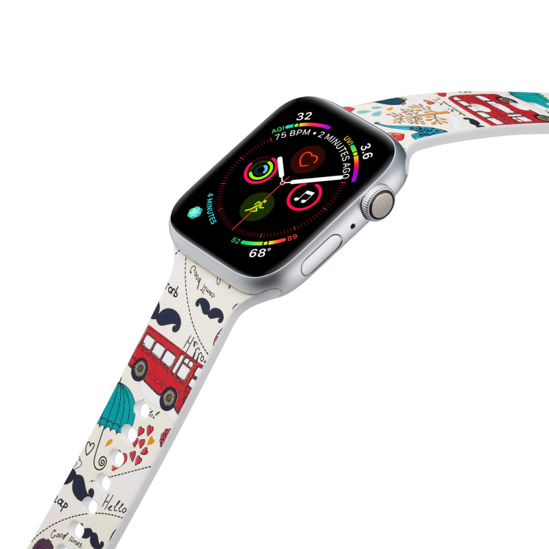 Sport Silicone Watch Band  For Apple Watch Watch 5 4 3 2 1 For IWatch 38mm 42mm 40mm 44mm Soft Strap Cartoon Flamingo Bracelet