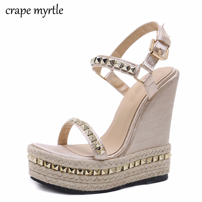 STRAPPY HEEL SANDALS ANKLE STRAP RUBBER FLATFORM SUMMER CLEATED SHOES HIGH HEELS
