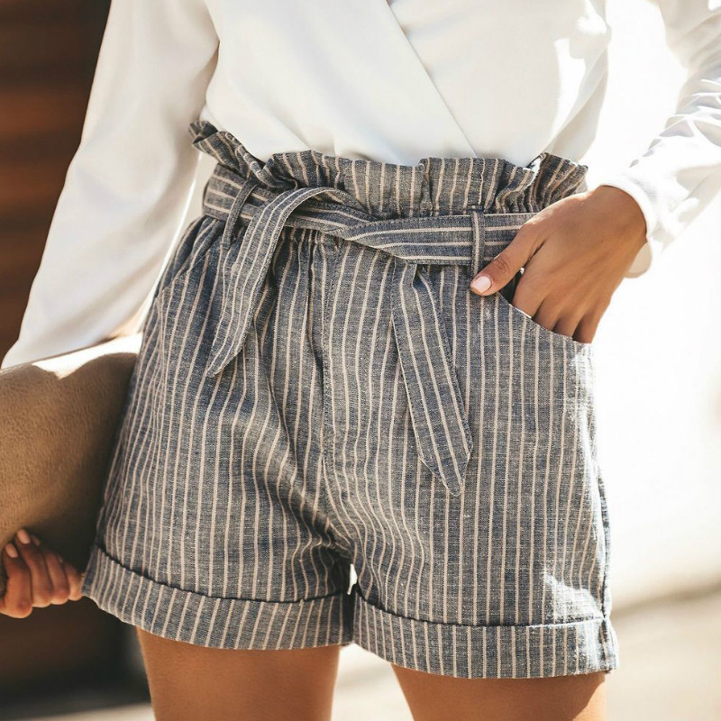Fashion Women Summer Casual Shorts High Waist Striped Short