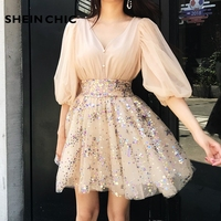Elegant Puff Sleeve Sequined Mesh Embroidery Ball Gown Party Dress 2019 Women Designer Runway Dress High Quality