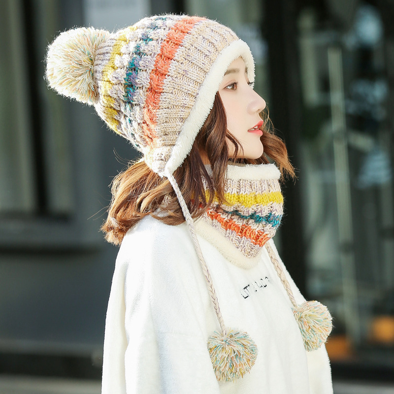 Knitted Winter Hat Scarf Set Women Warm Thick Cotton Beanies Skullies Pom  Ring Scarf Female Knitted a78369215f