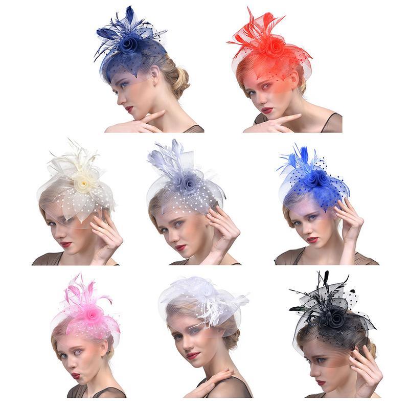 2019 New Elegant Bridal Net Feathers Flower Headwear Wedding Dress Photo Clip Top Hat Headdress Headband For Women And Girls