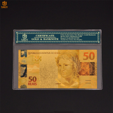 Gold Banknotes Brazil World-Souvenir Coa-Frame Fake-Money-Collection Reasl-Currency-Paper