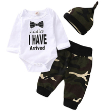 Fashion Baby Boy Kids Newborn Infant Clothes Sets Letter Bodysuits Carters Top Camo Full Pants Hats Spring 3Pcs Bebe Boy Outfit 2017 spring newborn baby boy clothes bow lie kids suit clothing sets 3pcs children bebe solid cloth outfit sport coats boys