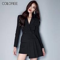 Women Business Skirt Suit 2019 Korean Fashion Elegant Irregular Ruffles Blazer+Mini Skirt Black Two Piece Office Sets