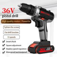 36V Electric Impact Cordless Drill 5200mAh 1/2 Lithium Battery Wireless Rechargeable Hand Drill Home DIY Electric Power Tools