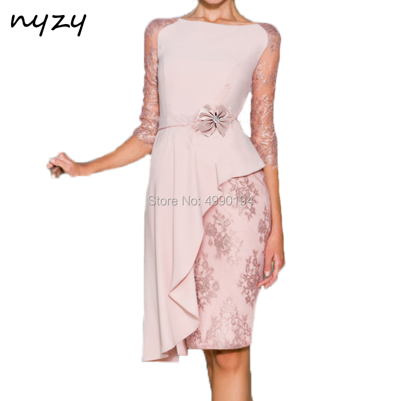 NYZY C42 Vestido Cocktail Dresses Knee Length Pink 3/4 Sleeves Asymmetrical Skirt Lace Chiffon Dress For Wedding Party 2019