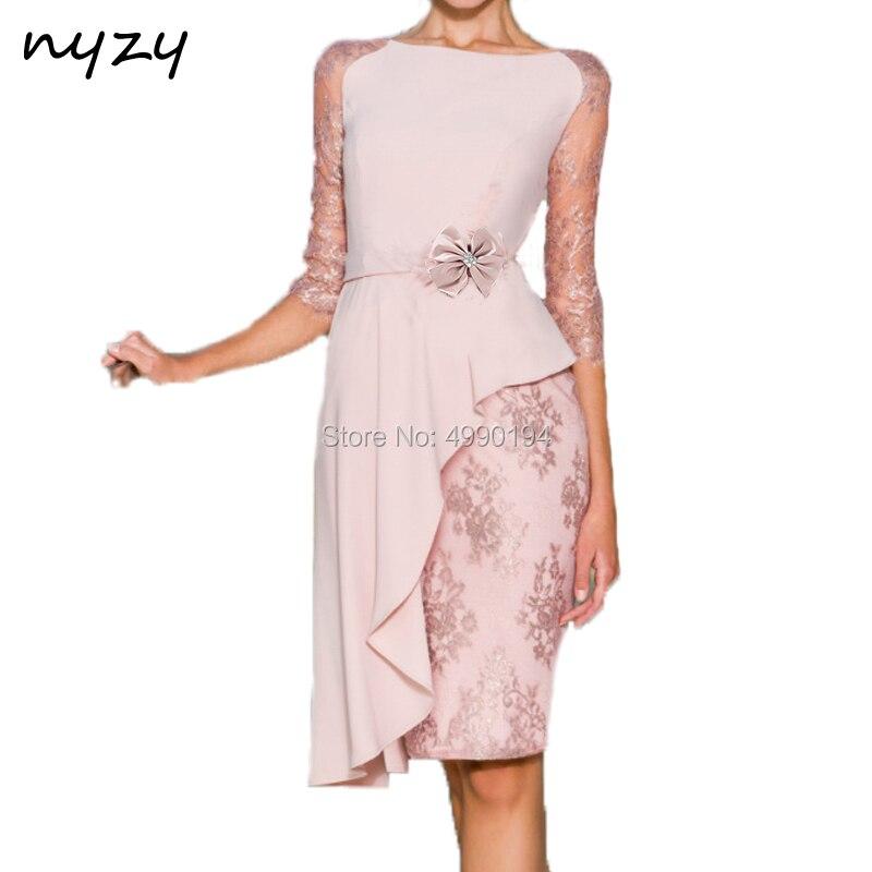NYZY C42 robes de Cocktail Vestido longueur genou rose 3/4 manches asymétrique jupe dentelle mousseline de soie robe pour la fête de mariage 2019