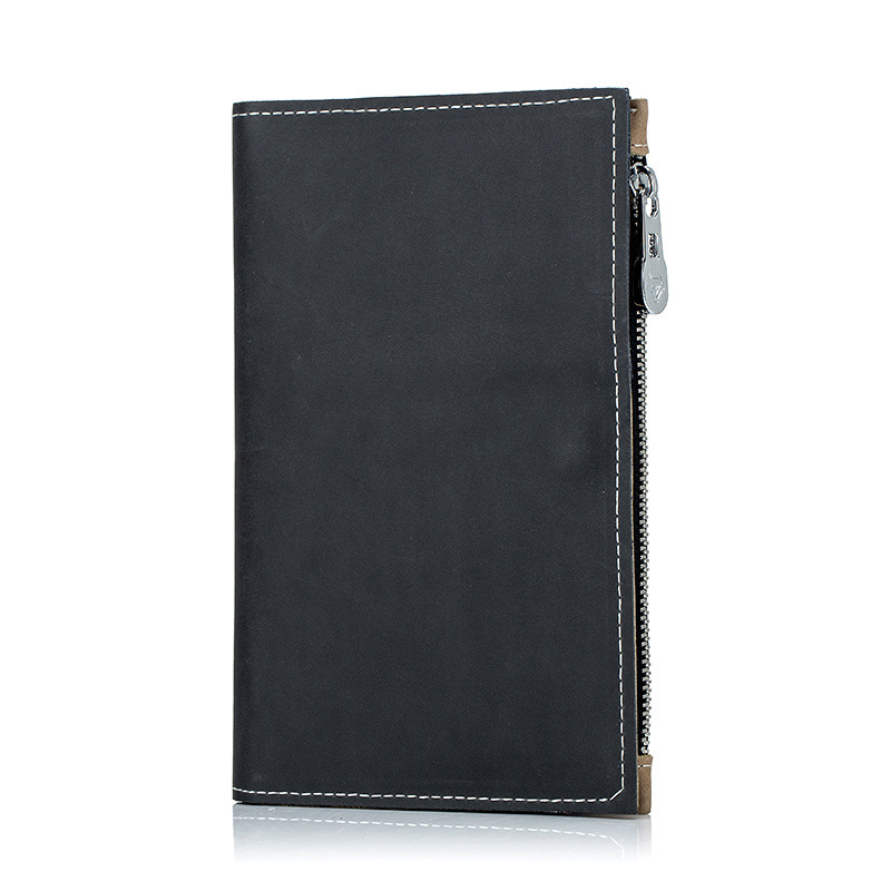 Image 5 - Genuine Real Leather Passport Travel Money Wallet Credit Card Case Coin Zipper Ultra Thin Cow Skin Good Quality Men Male HolderCard & ID Holders   -