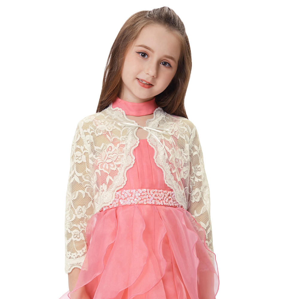 Gk New Children Lace Coat Summer Fashion Kids Long Sleeve Clothes For Girls Sleeve Open Front Lace Shrug Bolero 2019