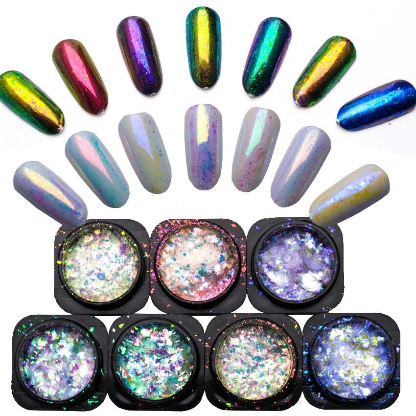 1 Box Chameleon Flakes Shimmer Galaxy Nail Glitter Dust: 1 Box Glitter For Nails Chameleon Powder Yucca Flakes For